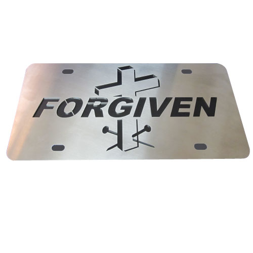 Cross Nails Forgiven Stainless Steel License Plate Tag