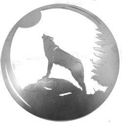 "Howling Wolf Stainless Steel 16"" Ring Wall Art"