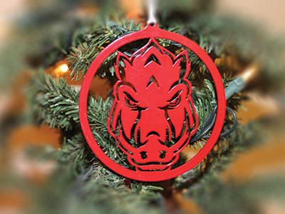 Red Razorback Christmas Ornament
