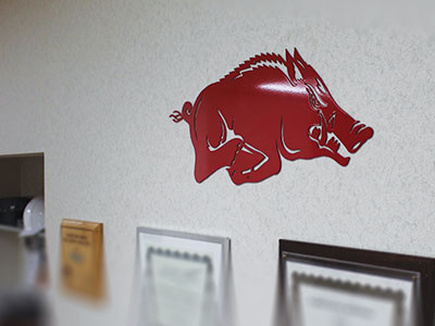 Red Running Razorback Wall Haning
